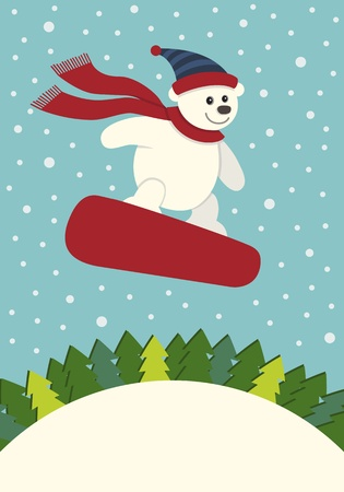 teddy bear christmas: Polar Bear Snowboarding