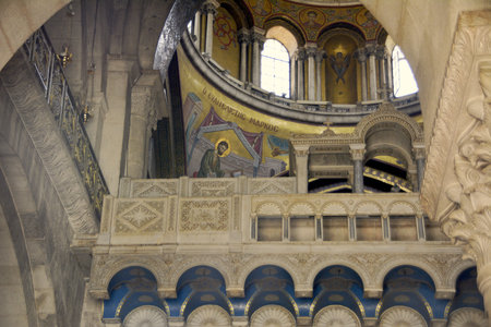 coptic orthodox: Jerusalem - April 30, 2017: Detail of architecture of the dome over the Catholicon, Church of the Holy Sepulchre, seen from the Stone of Unction. Editorial