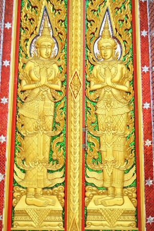 The character of thai literature on the door at the temple photo