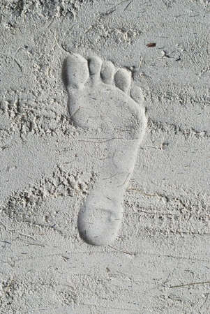 The footprint is in the sand that is on the beach