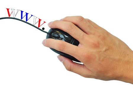 worldwideweb: The mouse is clicking by hand with word worldwideweb at the wire