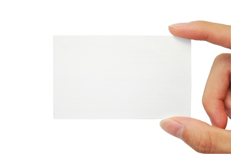 The hand is grapping the white empty name card Stock Photo - 9098724