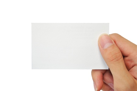 blank card: The hand is grapping the white empty name card