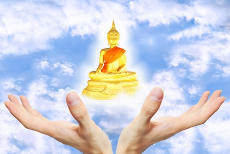 The hand is on the sky background with tree with buddha statue photo