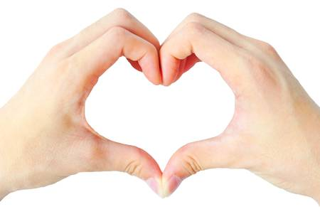 The hand heart is on the white background Stock Photo - 9579358