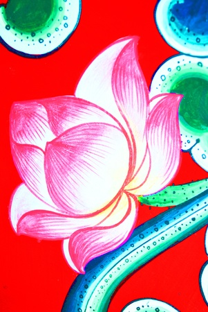 The mural painting of lotus is so beautiful Stock Photo - 9579372
