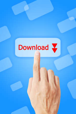 The hand is pressing the download button Stock Photo - 9579617