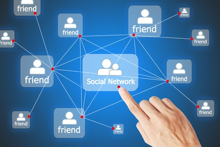 The hand is pressing the button social network