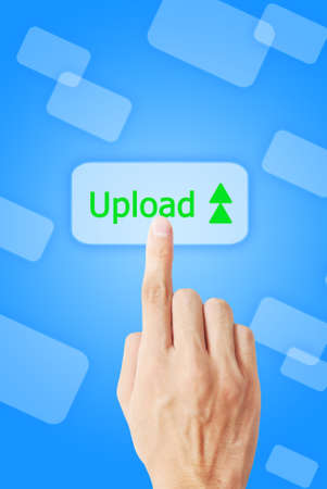 touchscreen: The hand is pressing the upload button