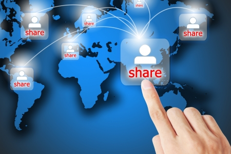 network marketing: The hand is pressing the share button Stock Photo