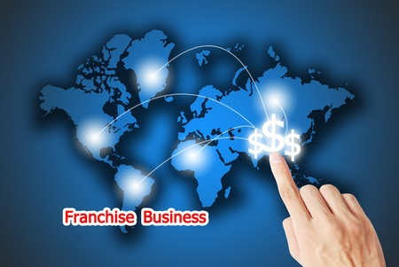 direct mail: The hand pressing on the financial button franchise business Stock Photo