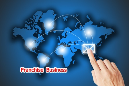 The hand pressing on the service button franchise business photo