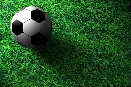 The football is on the green grass Stock Photo - 9729114