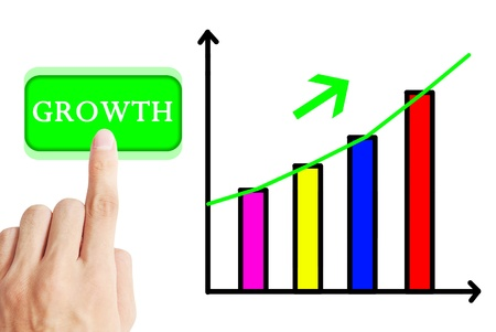 Hand press the growth graph of one company Stock Photo - 9850101