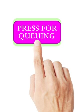 queuing: Hand is pressing word press for queuing Stock Photo