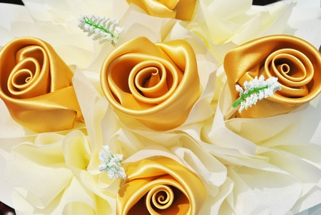 The beautiful artificial rose is in the garden Stock Photo - 9850178
