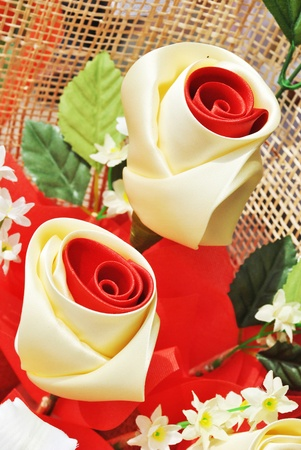 The beautiful artificial rose is in the garden Stock Photo - 9850187