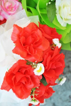 The beautiful artificial rose is in the garden Stock Photo - 9974139