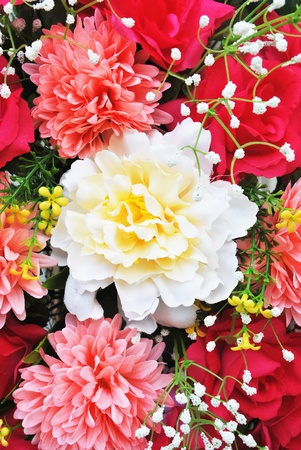 Artificial flower and leaf decorate in the garden Stock Photo - 9974190