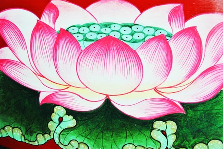 Lotus paint leaf flower is on the wall Archivio Fotografico