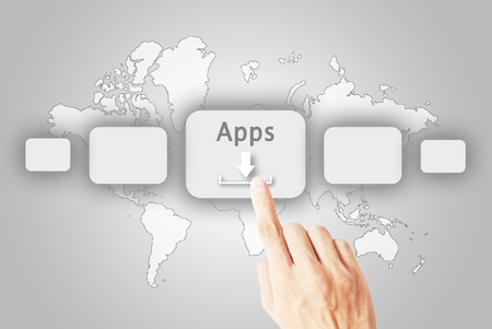satined: The hand press button download the application Stock Photo