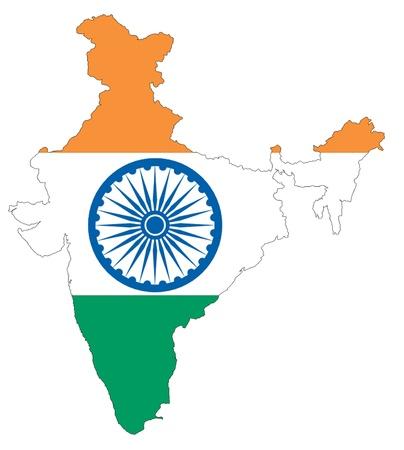 drapeau inde: Le drapeau Inde est sur le fond blanc Banque d'images