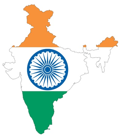 mapa politico: The India flag is on the white background
