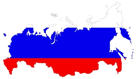 russia map: The Russia flag is on the white background Stock Photo