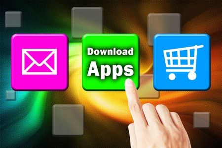 Hand touchscreen and press button download application