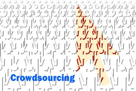 crowd sourcing: The crowdsourcing concept of people with pointer