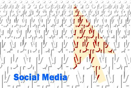 icon idea idiom illustration: The social media concept of people with pointer