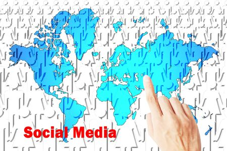 crowd sourcing: The social media concept of people with earth map