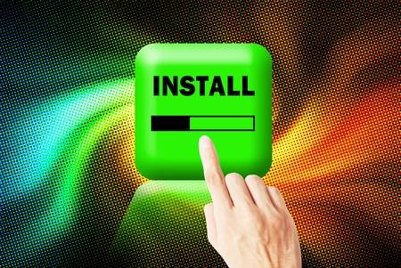 interface menu tool: Hand touchscreen and press button install application