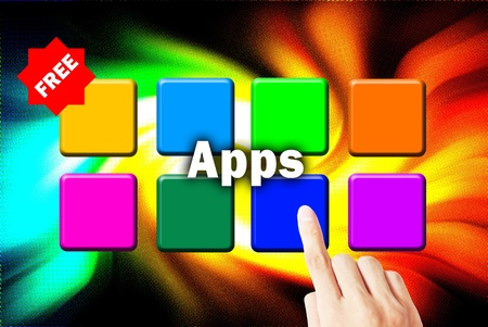 Hand touchscreen and press button download application photo