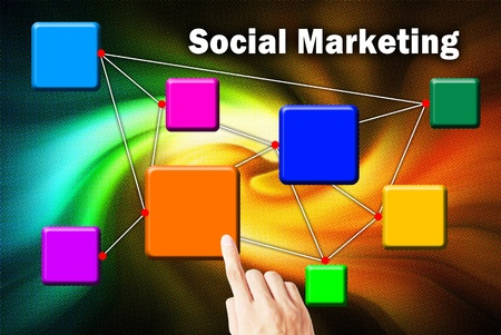 direct marketing: The hand is pressing the button social marketing