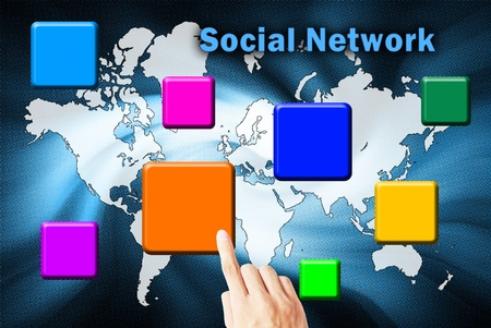 The hand is pressing the button social network Stock Photo - 10319521