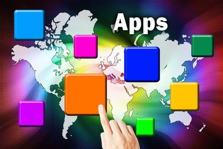 interface menu tool: Hand touchscreen and press button download application