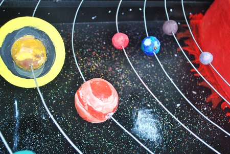 Solar system space model in the universe Stock Photo