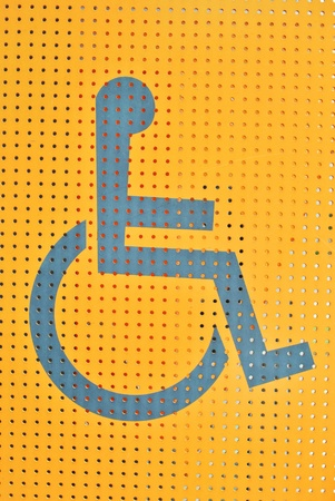 physically: Label peaple with disability sign and symbol