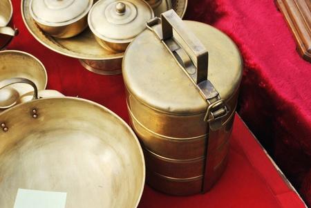 Thai ancient design vintage gold brass ware photo