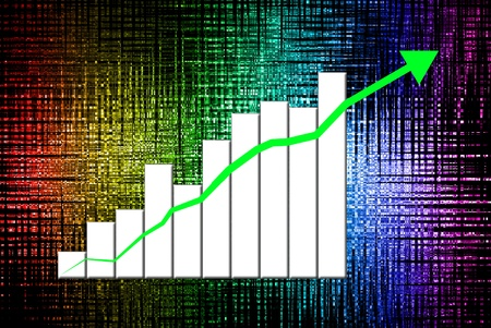 Hand press the growth graph of one company Stock Photo - 10684443