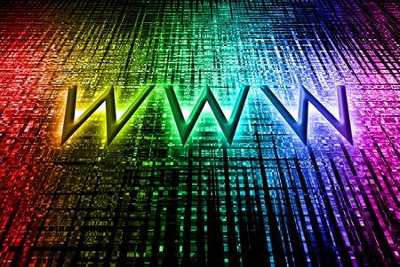 worldwideweb: Beautiful rainbow bokeh with worldwide-web word on the black background