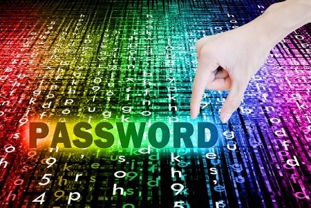 Beautiful rainbow bokeh and hand pick password word on background Archivio Fotografico