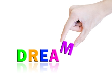 Hand pick and lift button dream word Stock Photo - 10704333