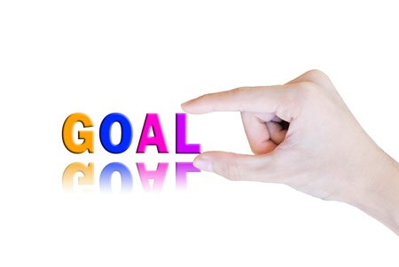 Hand pick and lift button goal word