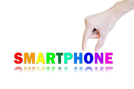 Hand pick and lift button smartphone word Stock Photo - 10704331