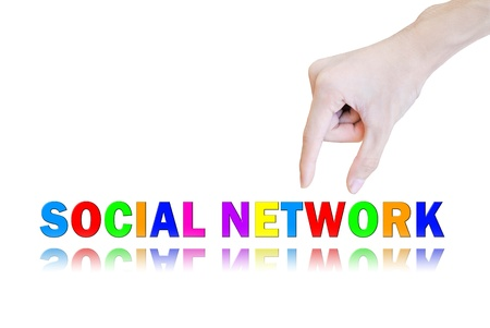 Hand pick and lift button social network word Stock Photo - 10704335