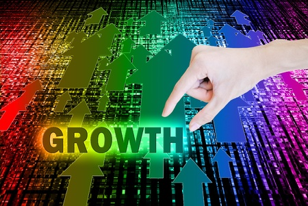 growth enhancement: Arrow growth with word and hand on the bokeh background