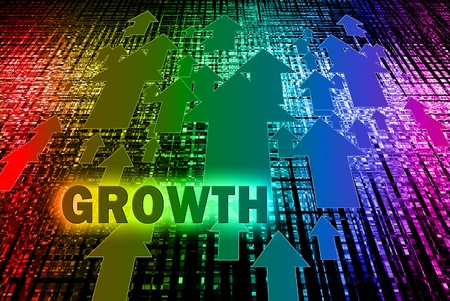growth enhancement: Arrow growth with word on the bokeh background