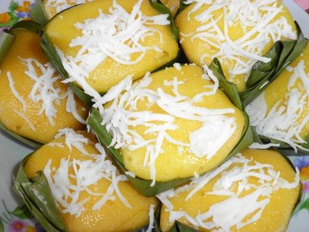 Thai dessert sweet sugar palm cake with coconut          photo